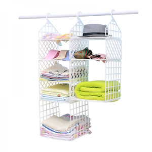 DIY Hanging Closet Foldable Organizer Clothes Shelf with Hook - 1 Small 1 Big Layers