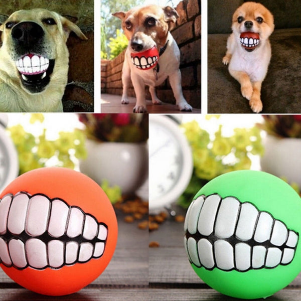 Pet Dog Ball Silicone Teeth Shaped Fetch Ball w/ Chewing Squeaky Sound Yellow