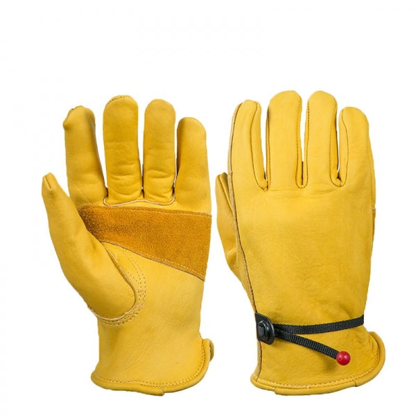 Garden Gloves Yellow Cowskin Working Leather Security Safety Workers - XL