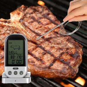 Wireless Digital Display LCD Thermometer For BBQ Food Cooking Black