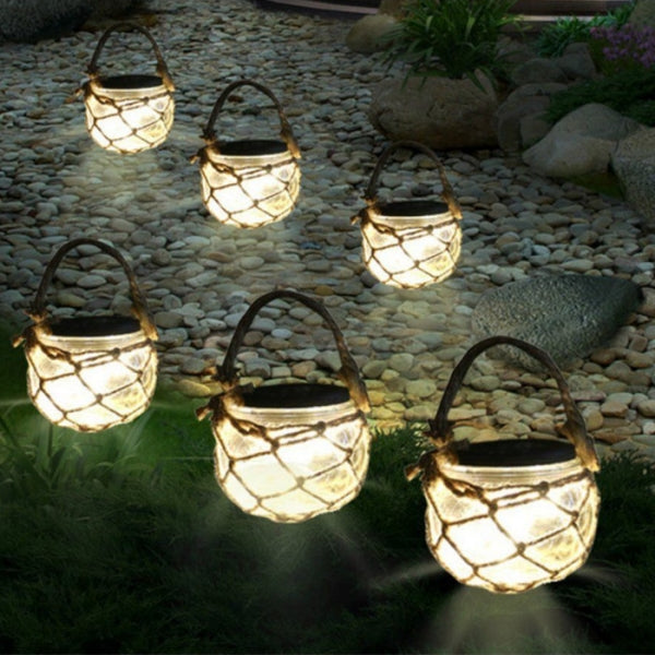 LED Solar Lights Hemp Rope Transparent Glass Jar Night Light