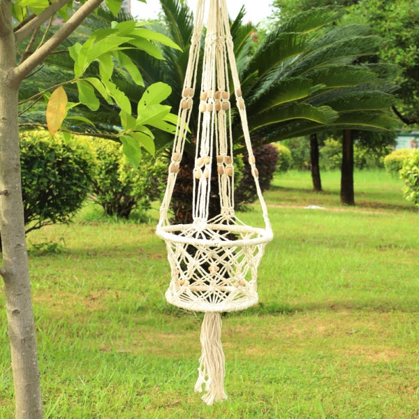 Plant Hanger Hanging Planter Basket Cotton Rope Braided Basket - White