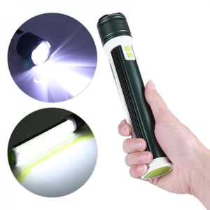 Multi-function Waterproof Flashlight T6+COB Zoomable Torch Green