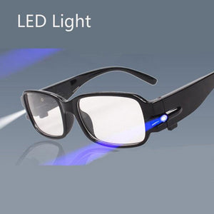 Multifunctional 100-Degree White Lens LED Night Vision Reading Glasses with Magnet Therapy Money Detection Function Black