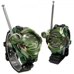 1 Pair of Watch Style Talker Walkie with Seven Functions Camouflage Color