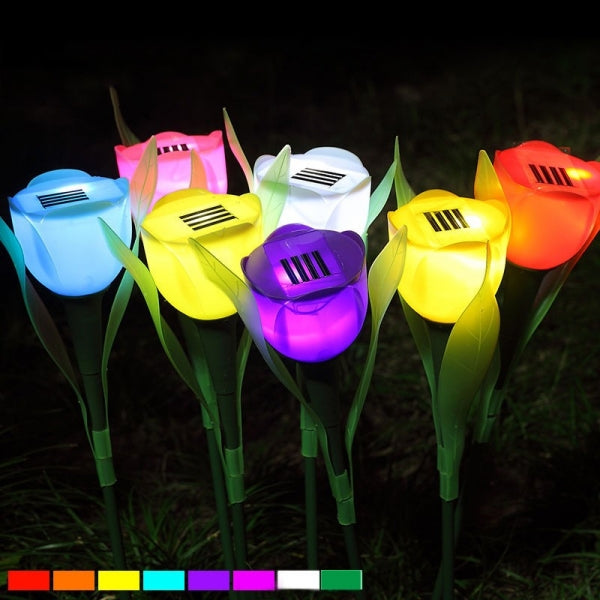 Outdoor Yard Garden Path Way Solar Power LED Tulip Landscape Flower Light for Wedding Centerpieces Decorations Garland Red