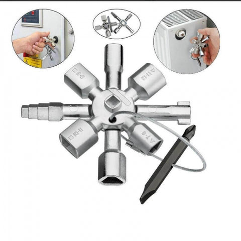10 In 1 Cross Switch Electric Cabinet Key Wrench Silver