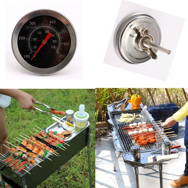 Stainless Steel Camping BBQ Grill Thermometer - Silver