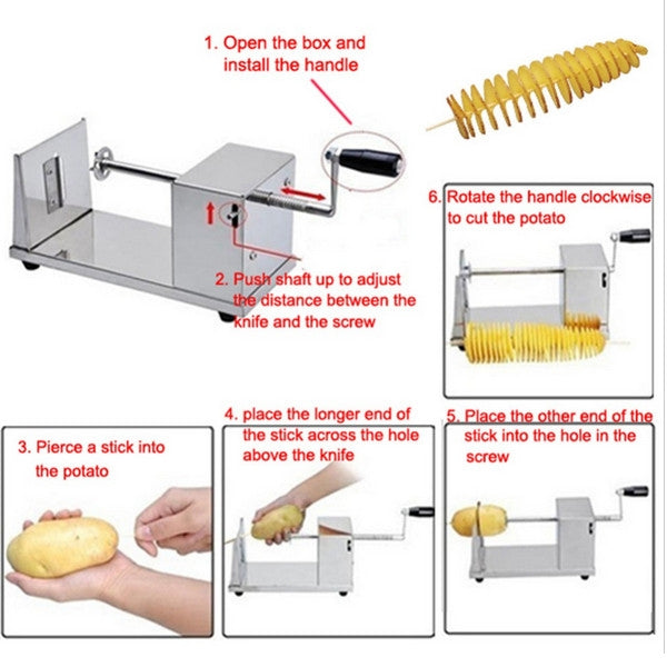 Stainless Steel Manual Spiral Potato Slicing Machine Silver