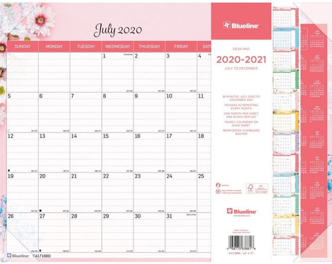 2021 Blueline Colorful Academic Desk Pad - Floral, 18 Months