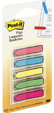 "Post-it® 1/2""W Arrow Flags in On-the-Go Dispenser - Bright Colors"