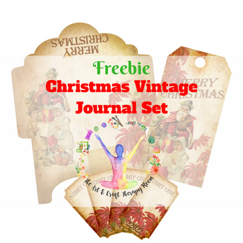 Freebie - Christmas Vintage Handmade Journal Set - Printable Envelopes, Tags and Tickets