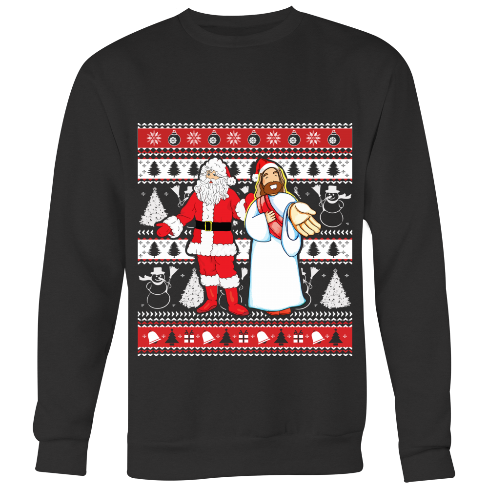 Santa and Jesus Ugly Christmas Sweater Hoodies Pullover Sweatshirt ...