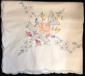 Hand-Embroidered Cotton Tablecloth 9-Piece Set