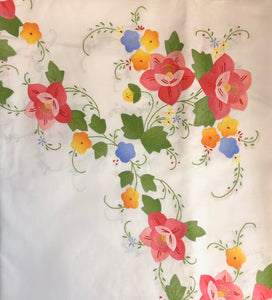Pink and Orange Flowers Hand-Appliqued Easy Care Tablecloth Set