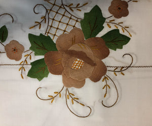 White Fabric Brown Flowers Hand-Appliqued Easy Care Tablecloth Set