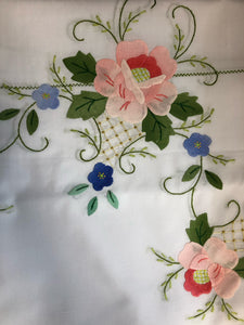 Pink and Blue Flowers Hand-Appliqued Easy Care Tablecloth Set