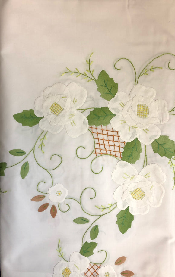 White Fabric White Flowers Hand-Appliqued Easy Care Tablecloth Set