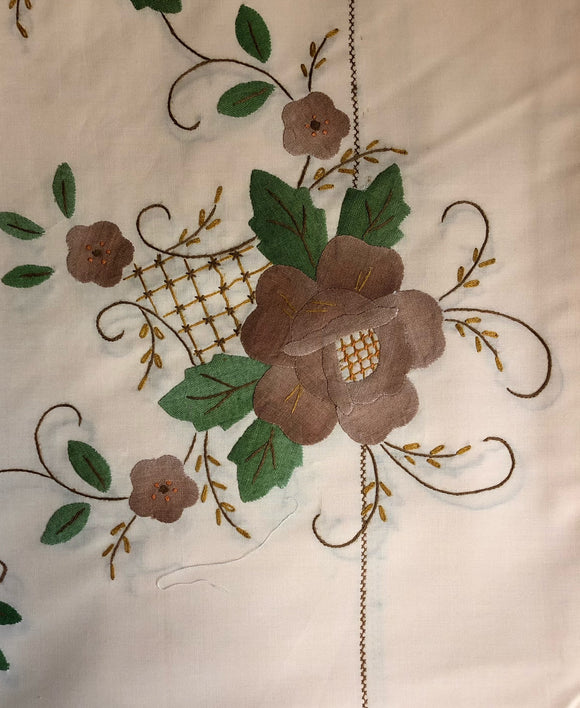 Beige Fabric Brown Flowers Hand-Appliqued Easy Care Tablecloth Set
