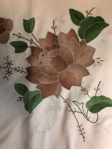 Brown Flowers Hand-Appliqued Easy Care Tablecloth Set