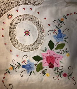 Pink and Blue Flowers Hand-Appliqued Handmade Lace Tablecloth Set