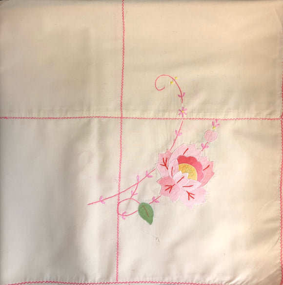 Pink Flowers Hand-Appliqued Easy Care Tablecloth Set