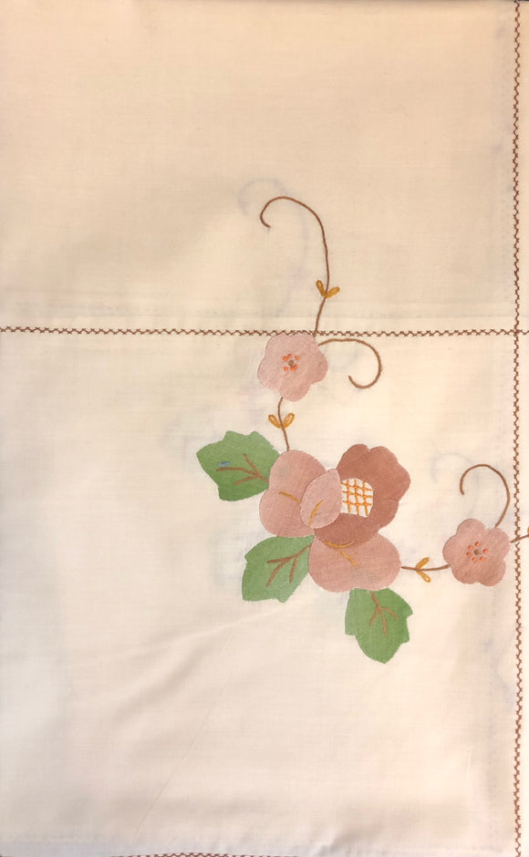 Brown Flowers Hand-Applique Easy Care Tablecloth Set