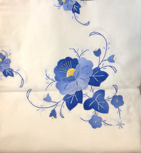 Blue Flowers Hand-Appliqued Easy Care Tablecloth Set