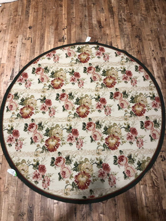 Chinese Round Floral Needlepoint