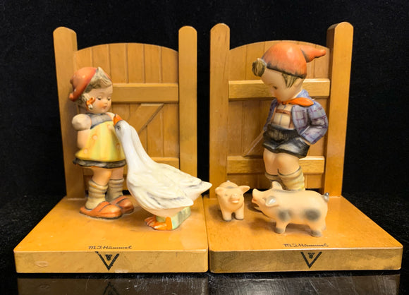 Hummel Goose Girl and Farm Boy Bookends