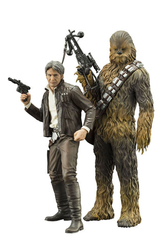 Star Wars The Force Awakens Han Solo and Chebacca 2-Pack ArtFX+ Action Figures