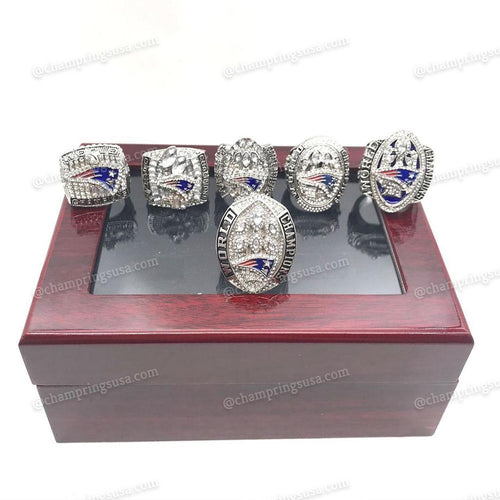 New England Patriots Championships 6 Ring Replica Set (2001/2003/2004/2014/2017/2019) - Champ Rings USA