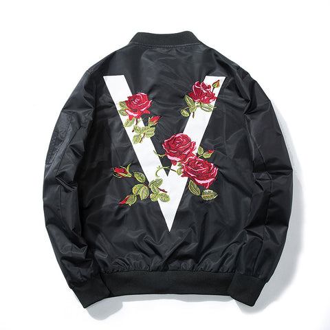 Autumn Men  Rose Embroidery Baseball Jacket Flower Fashion Casual Design Streetwear
