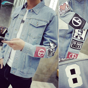 Men's Denim Jacket high quality fashion Jeans Jackets Slim fit casual streetwear
