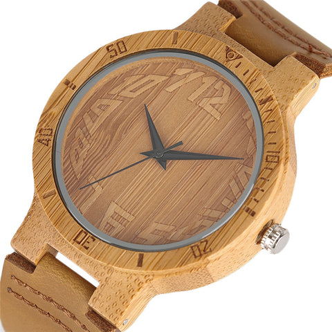 Unisex Nature casual  Bamboo watch with leather strap