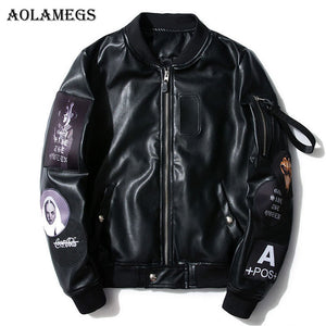 Men's Leather Jackets Embroidery Logo PU  Jacket
