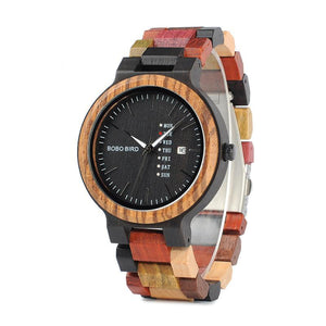 Men  Unique Quartz Wristwatch Black Face Date Display with Colorful Wooden Band