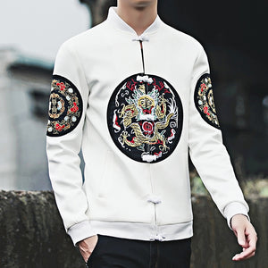 Black Embroidery Mens Long Sleeve Jackets Chinese Style