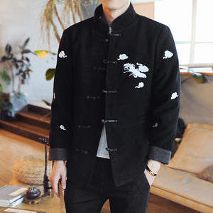 Chinese style autumn winter thicken single breasted warm Outwear Red-crowned crane Embroidery woolen men cotton jackets
