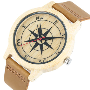 Creative Compass Pattern Wooden Watch