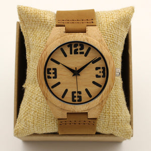 Quartz Luxury Men Wood Watch Arabic Big Number Vintage Genuine Leather