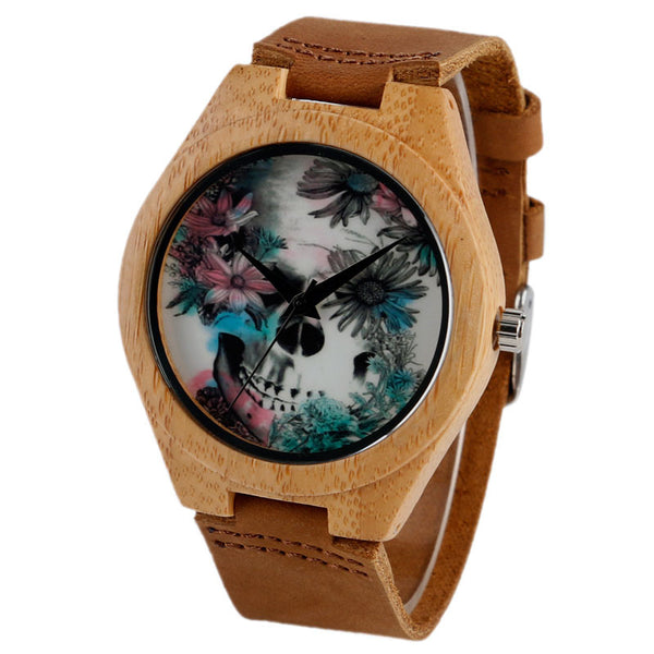 Fashion Quartz Men Wooden Watch Special Hand-made Skull and Flower Design Natural Bamboo Case