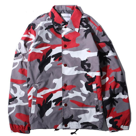 Color Camo Windbreaker Coaches Jackets Hip Hop Turn Down Collar Camouflage
