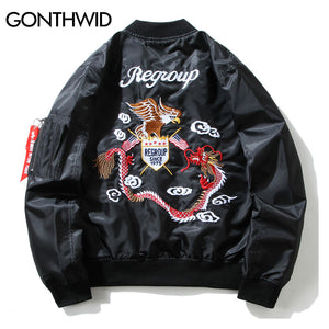 GONTHWID Eagle Dragon Embroidery MA1 Bomber Jacket Hip Hop Streetwear