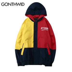 GONTHWID Vintage Color Block Hooded Jackets Hip Hop Casual Full Zip up Track Hoodies Jacket