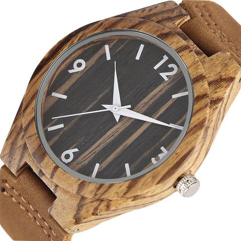 Natural Wooden Watches for Men and Women zebra Style Wood Grain Face Soft Genuine Leather