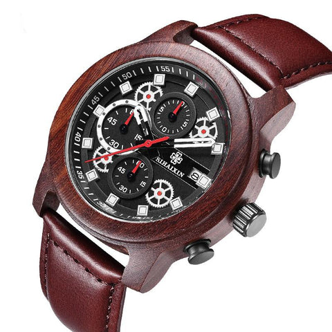 SIHAIXIN Leather Men Waterproof Chronograph Mens Sport Watch