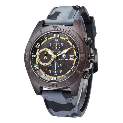 SIHAIXIN Military  Wooden Watch Men with Silicone Strap