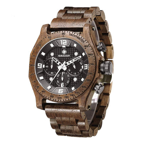 SIHAIXIN Men's Walnut Wooden Watch Waterproof Quartz Wrist Watches