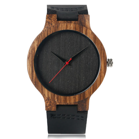 Mens casual bamboo wrist watch with leather strap